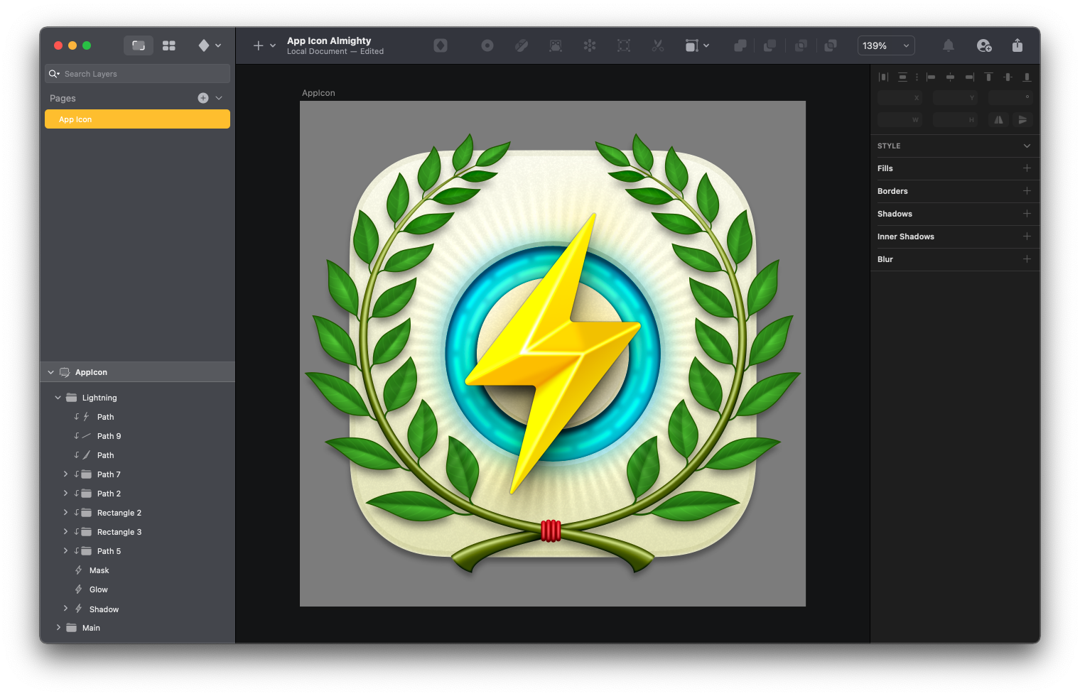 An icon design for the Almighty app featuring a big thunderbolt in the middle of a Sketch canvas.