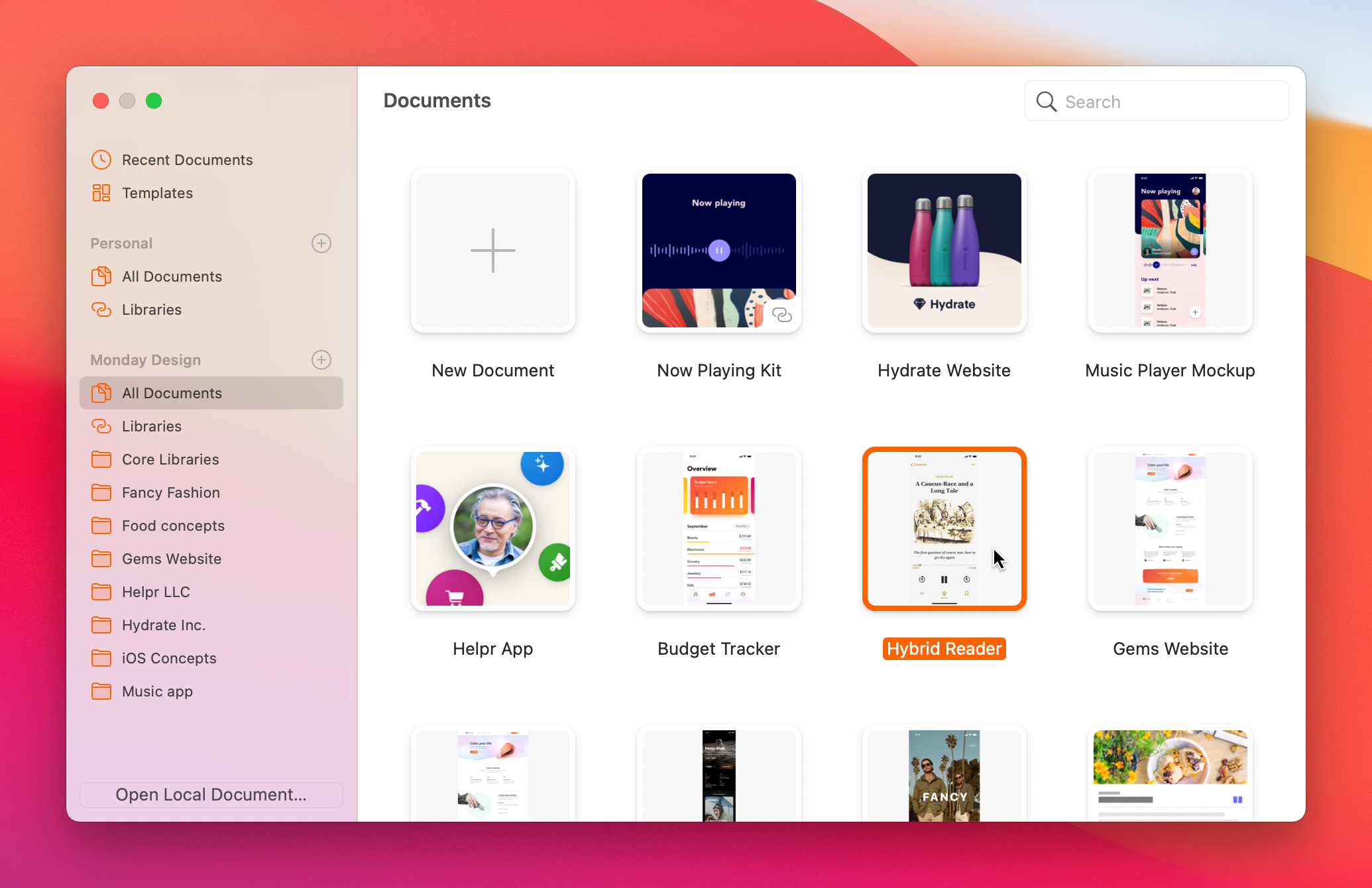 An image showing the new design for the Documents Window in Sketch 70.