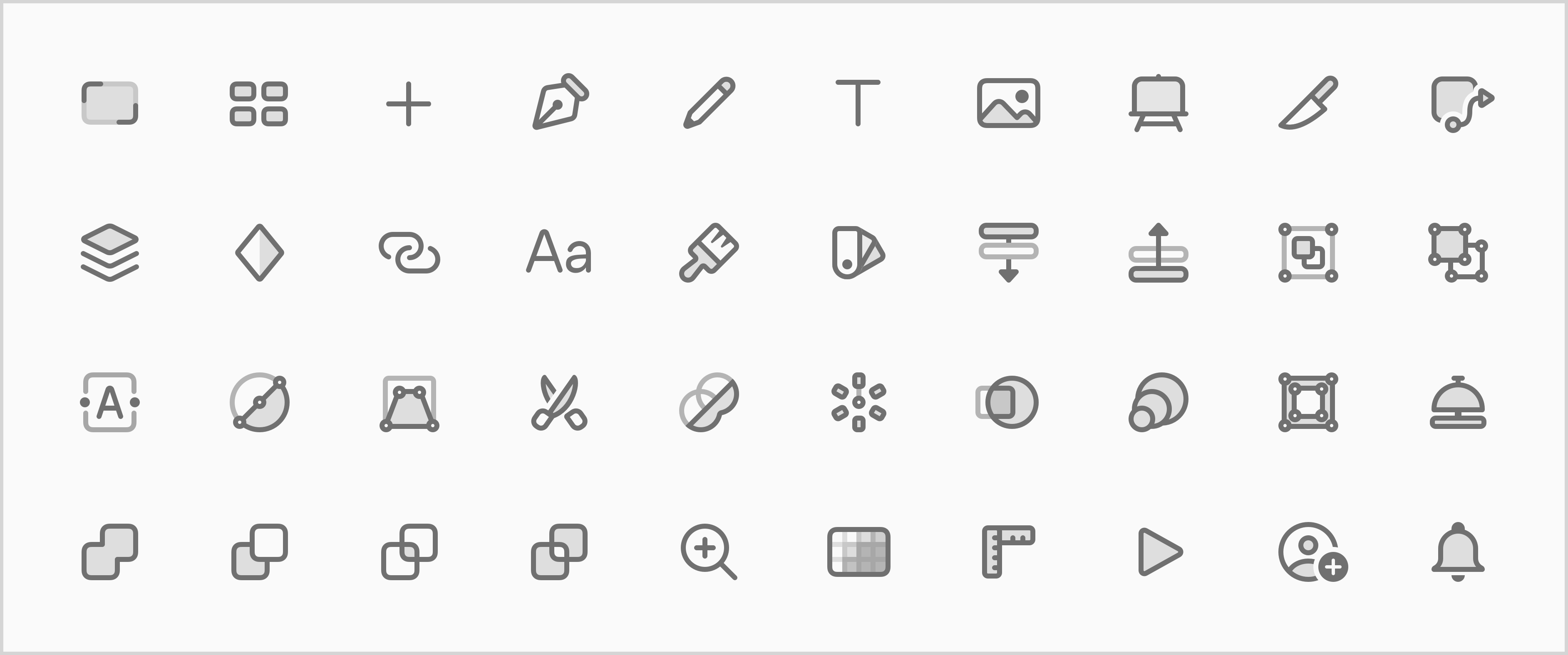 An image showing a grid of many of the finished toolbar icons.