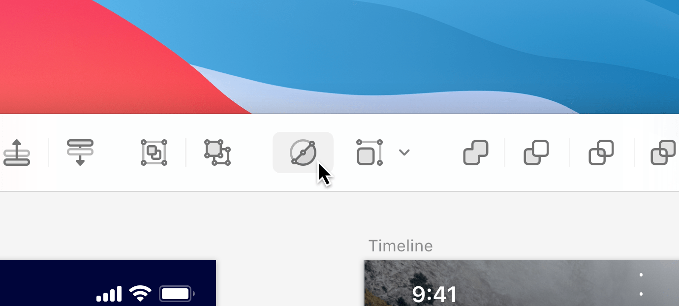 A close-up image of the new toolbar in Sketch 70.