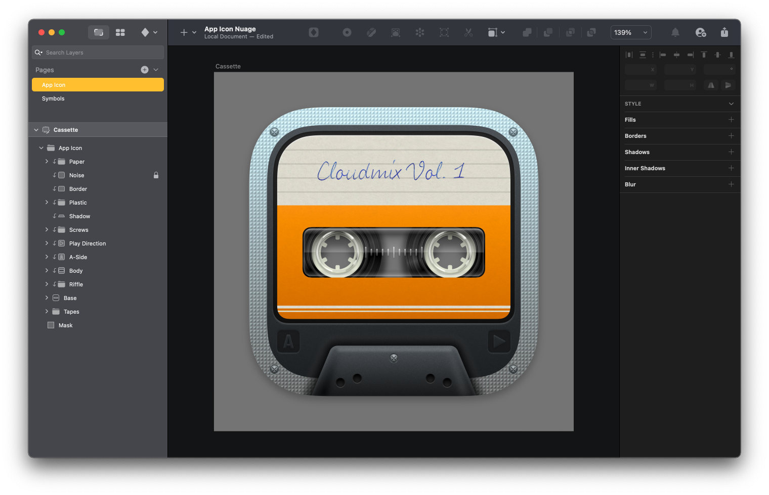 An alternative design to the Nuage icon featuring a cassette inspired icon design.