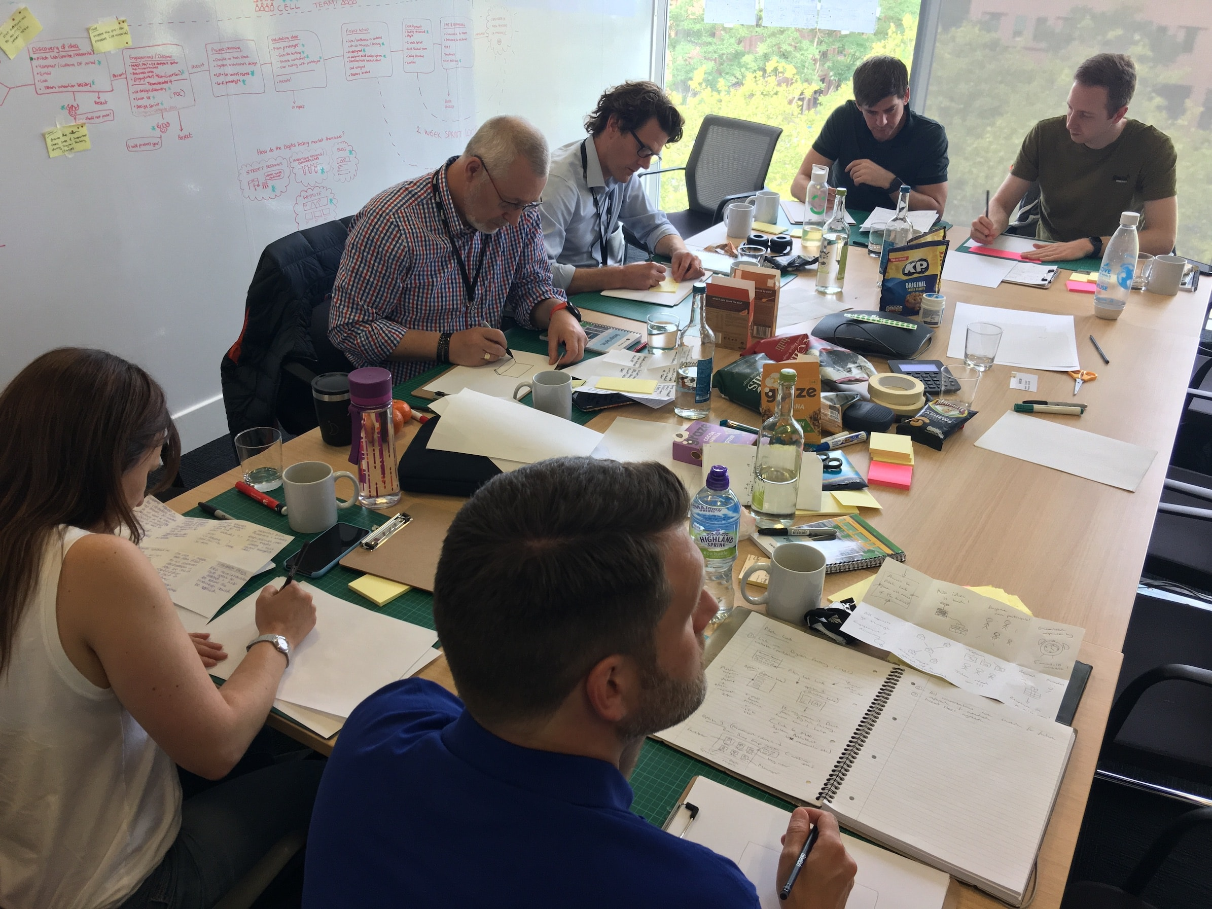 A photograph of the design sprint team working together to come up with ideas, while seated around a conference table.