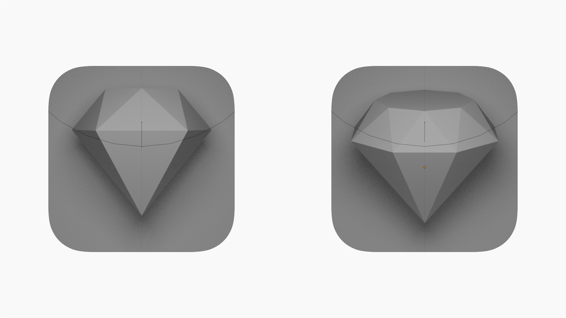 A 3D render of the two diamond shapes that Prekesh worked with during development.