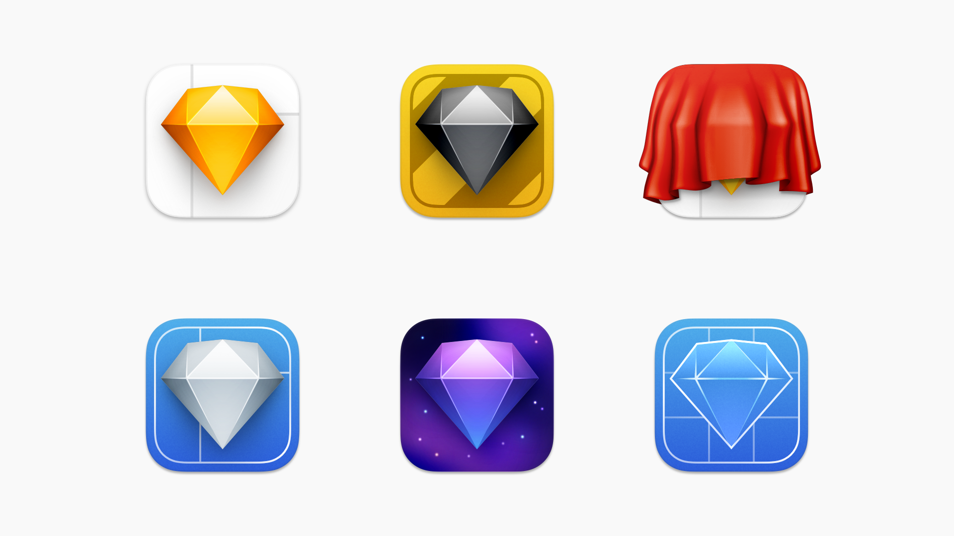 An image showing all six new Sketch icons in a grid.