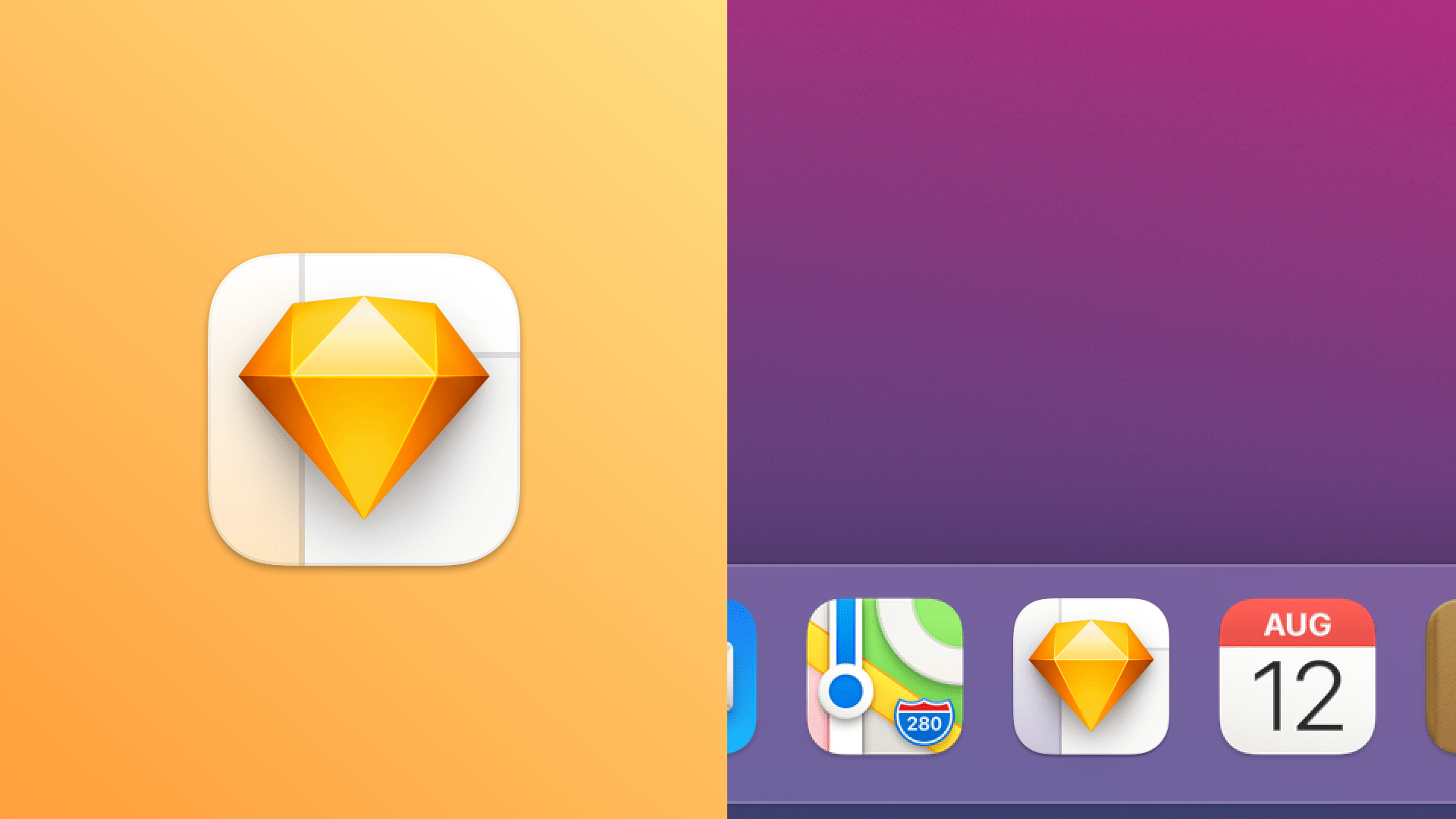 The final icon, shown on the left standing on its own, and on the right in a macOS Dock