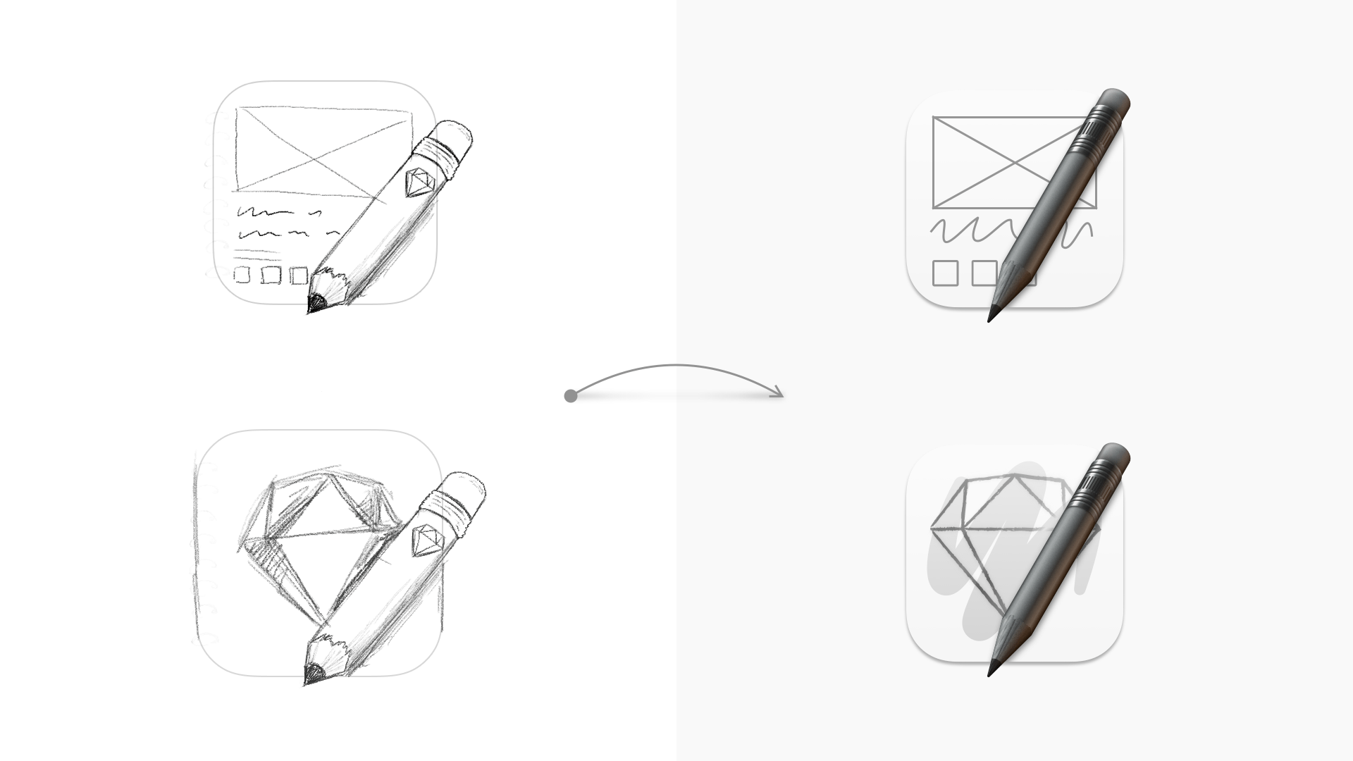 An image showing some initial ideas of icons with pencils overlaid on rectangles, with vector versions of these ideas next to them.