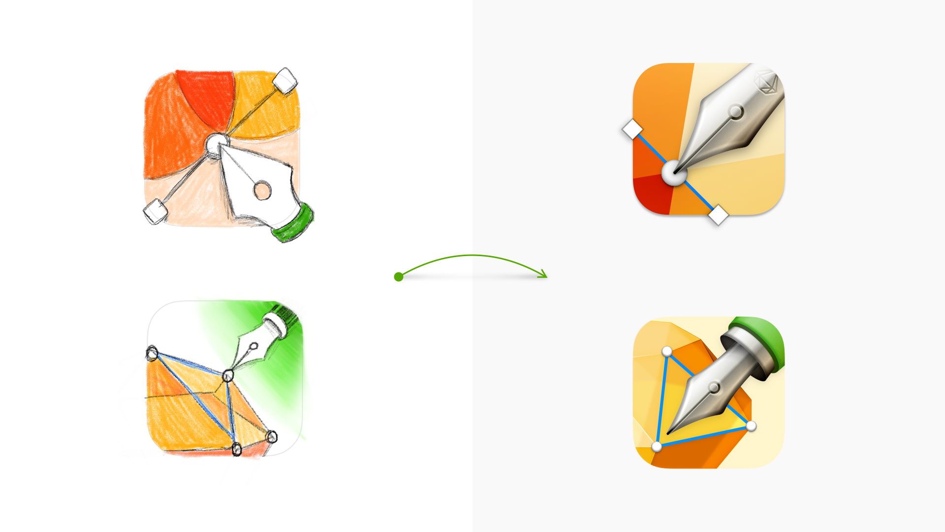 An image showing some initial sketches of icons with pens and nibs alongside vector versions of those icon ideas.
