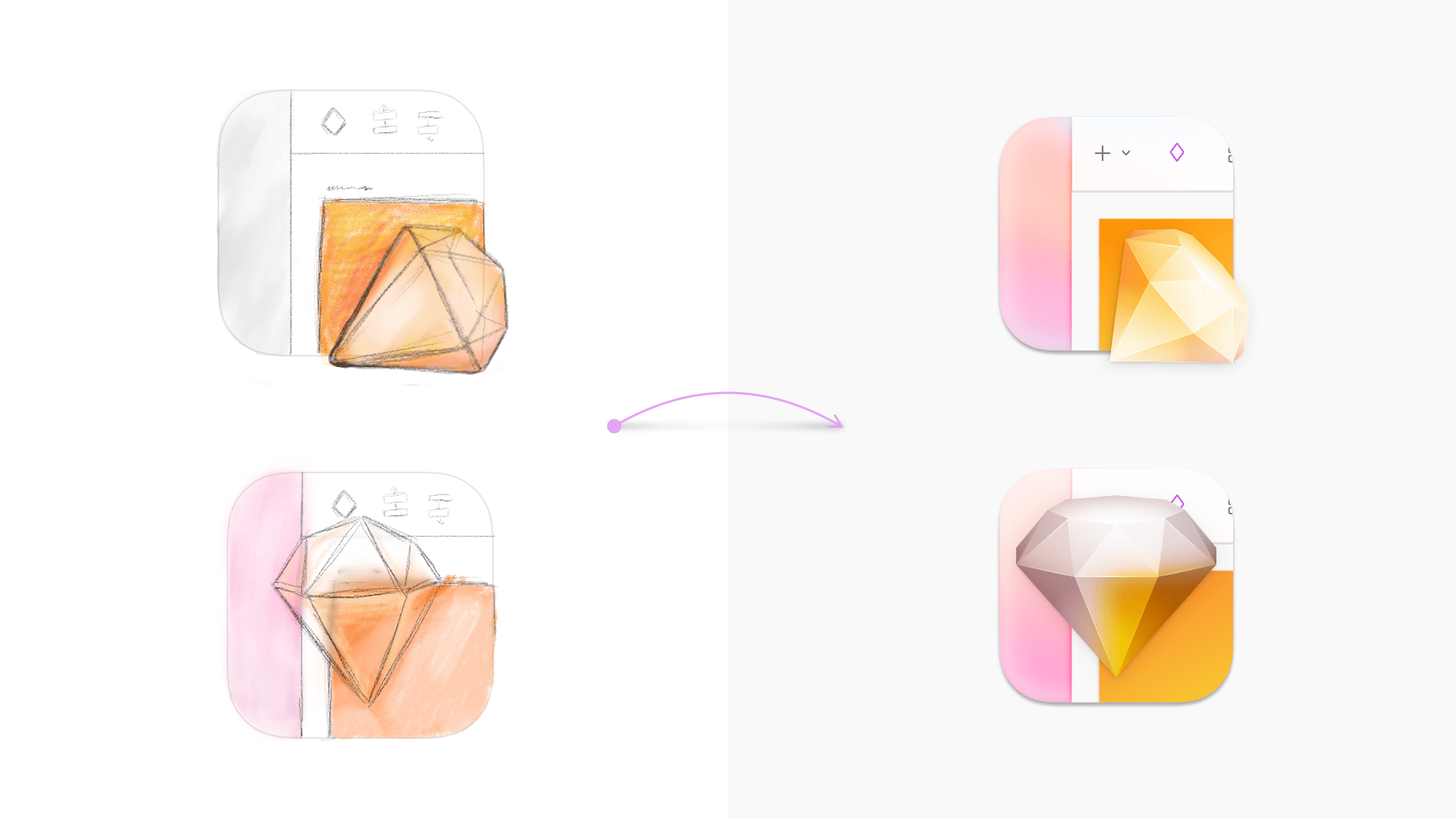 An image showing sketches and vector versions of icon ideas that used the new Sketch UI and a semi-transparent diamond.