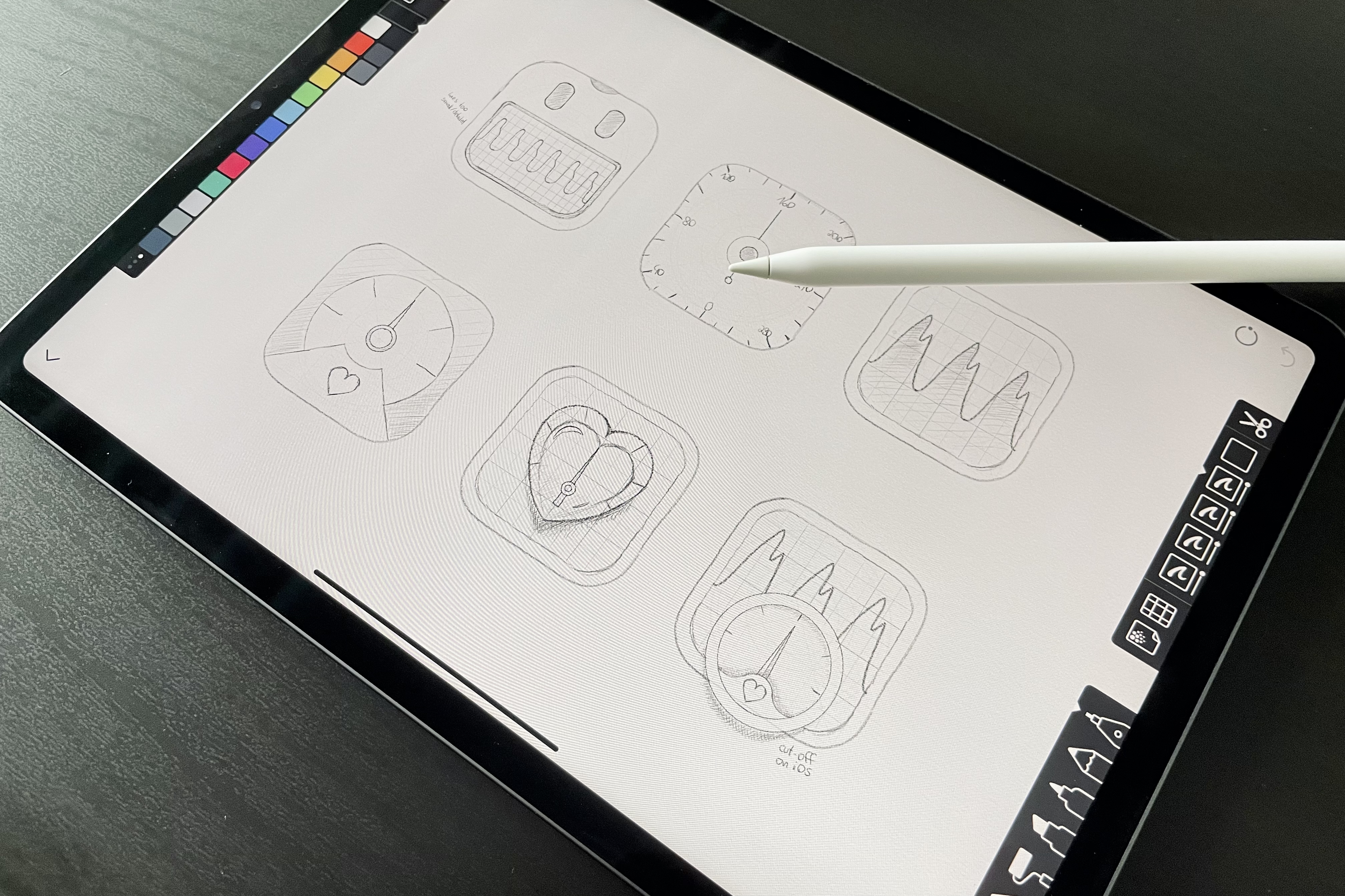 An iPad with sketches for icons drawn on Linea, also featuring an Apple Pen