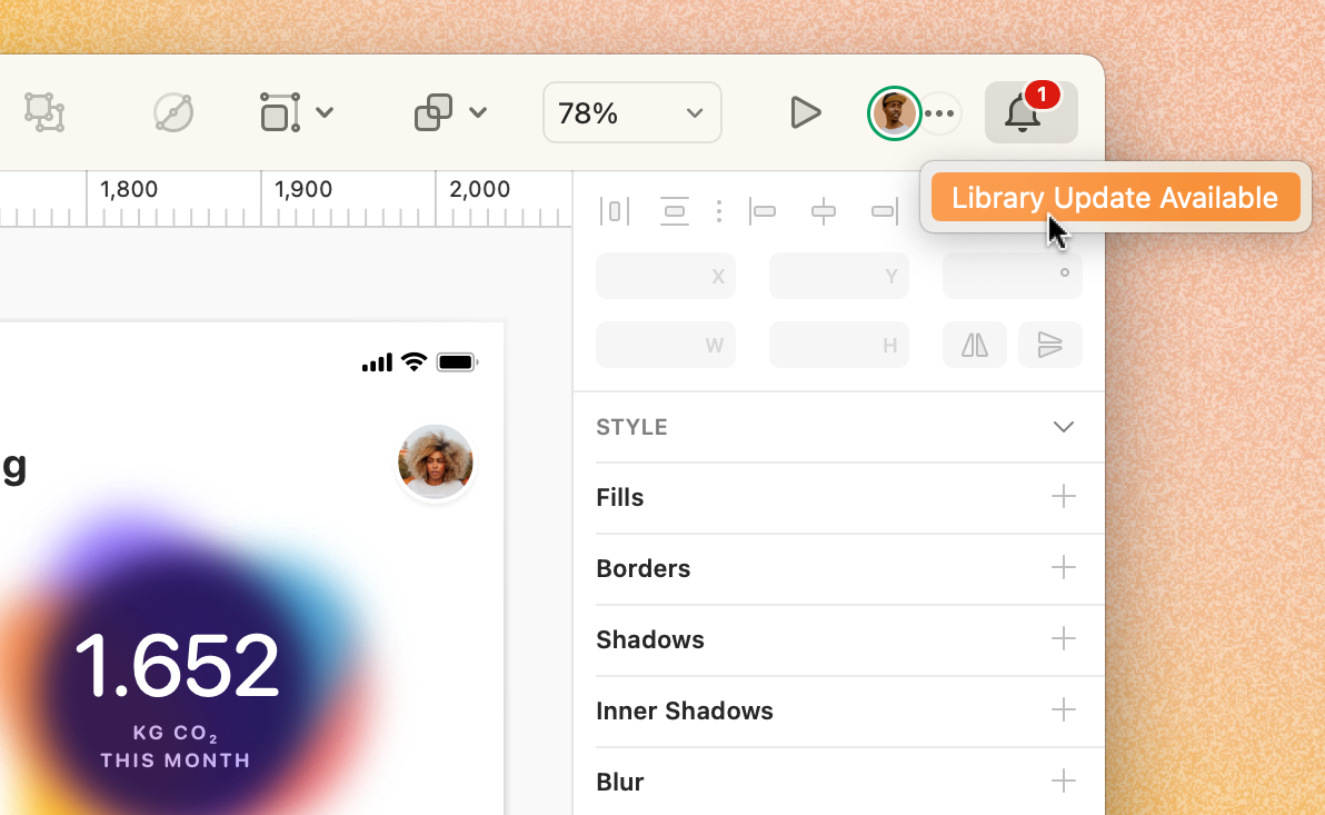 A screenshot showing a notification in Sketch that reads 'Library Update Available'.