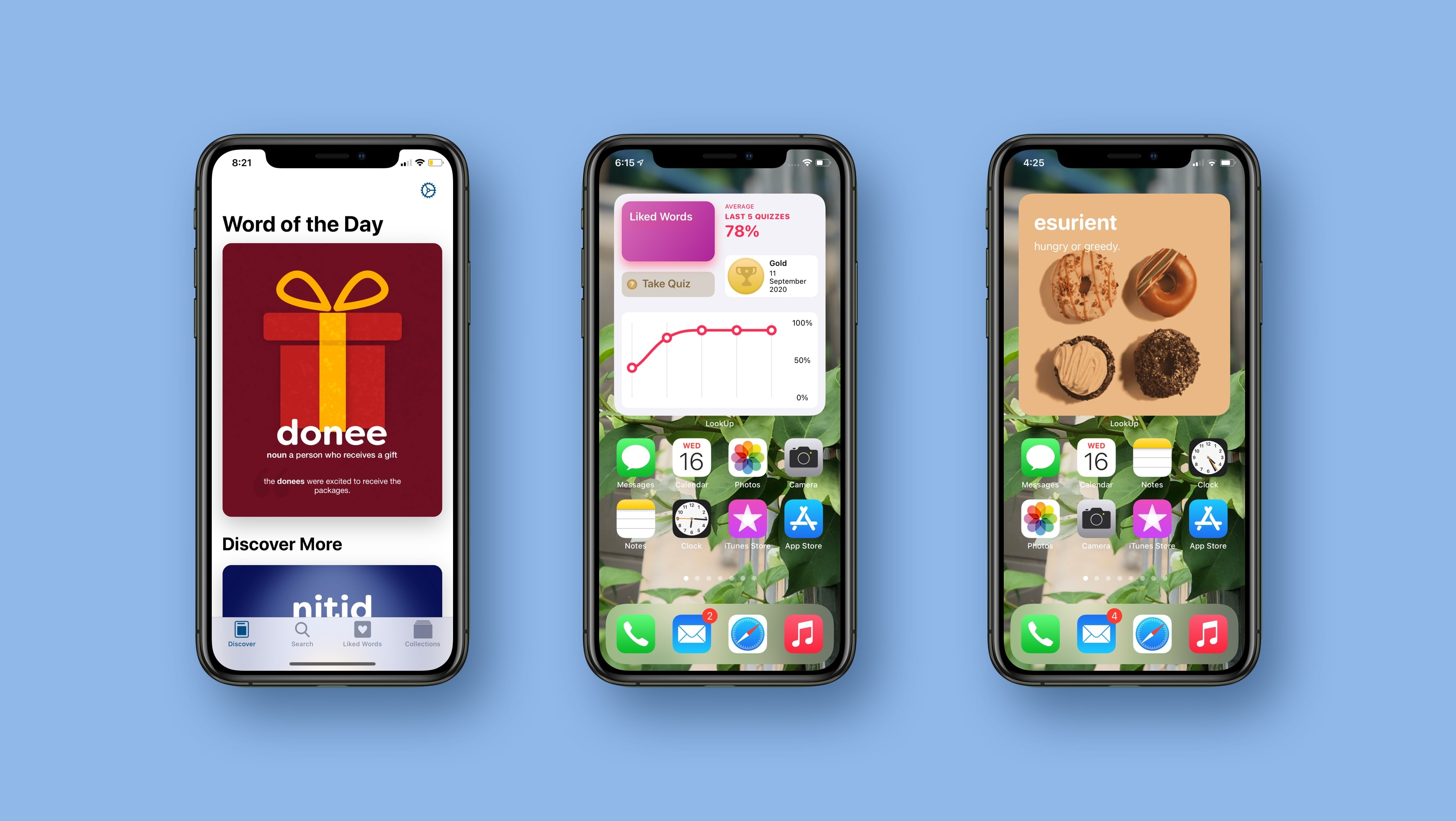 Three iPhones, each one showing LookUp in a different way, including home screen widgets.