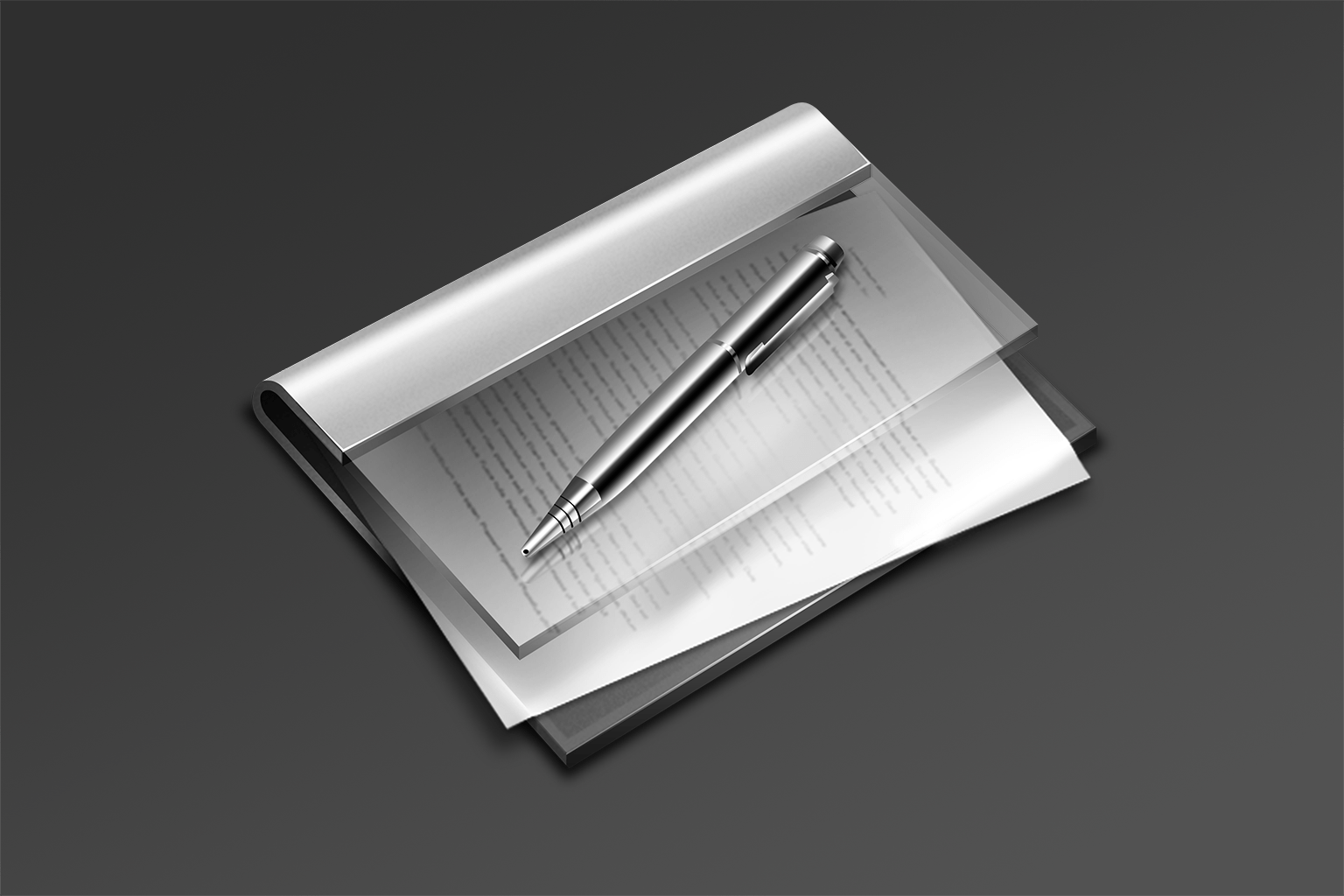 A skeuomorphic icon showing a binder full of notes along with a ballpoint pen, designed by Emanuel