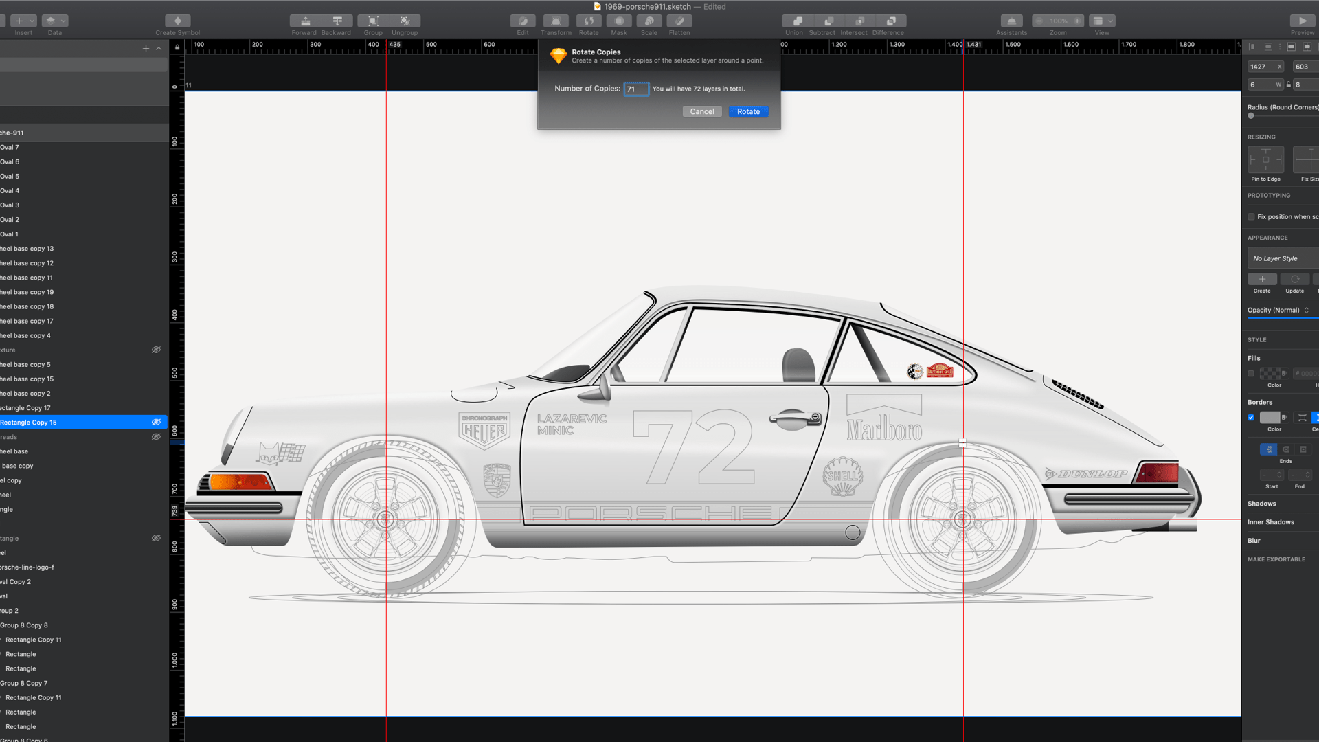 A screenshot of a Sketch document with a half-finished illustration of a photorealistic car.