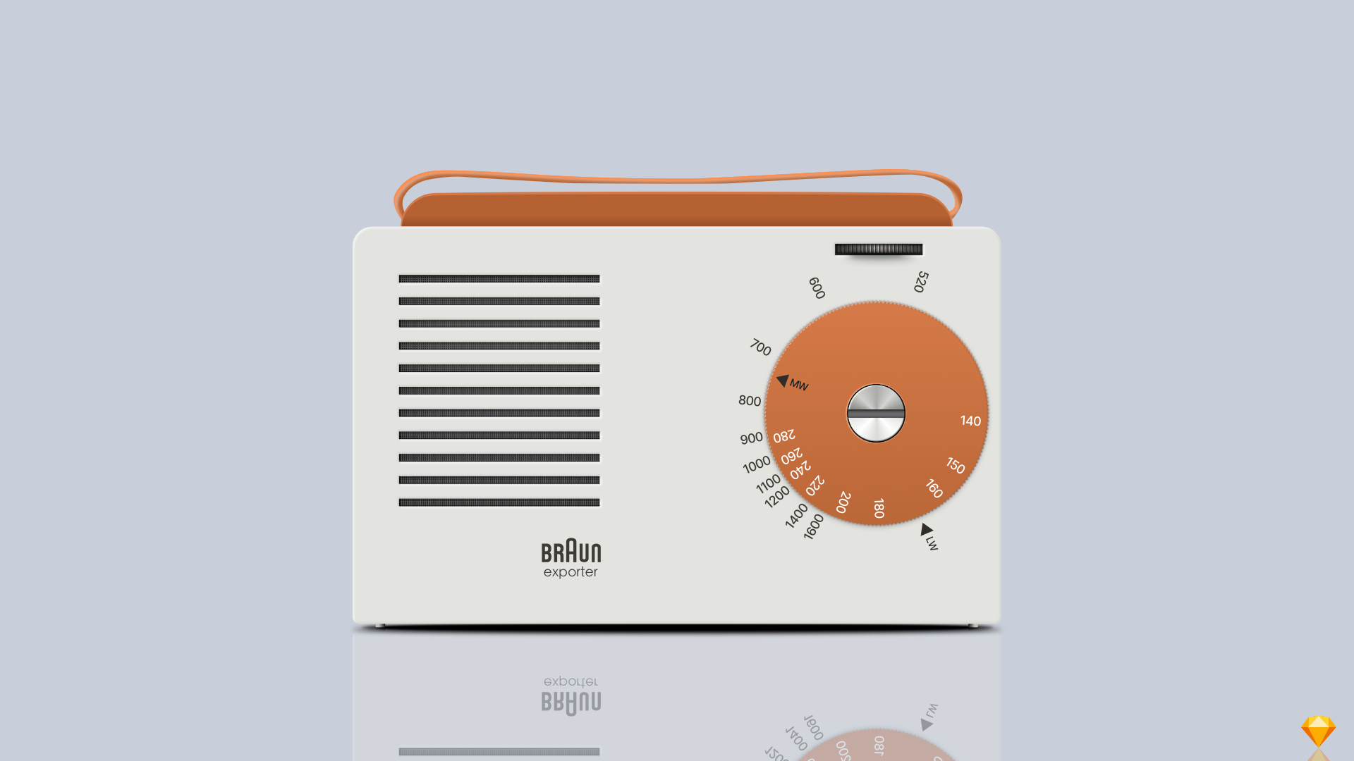 A realistic illustration of a 1956 Braun Exporter 2 Radio, created entirely within Sketch.