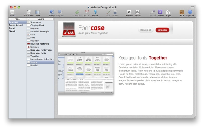 A screenshot of the first Sketch interface from 2010.