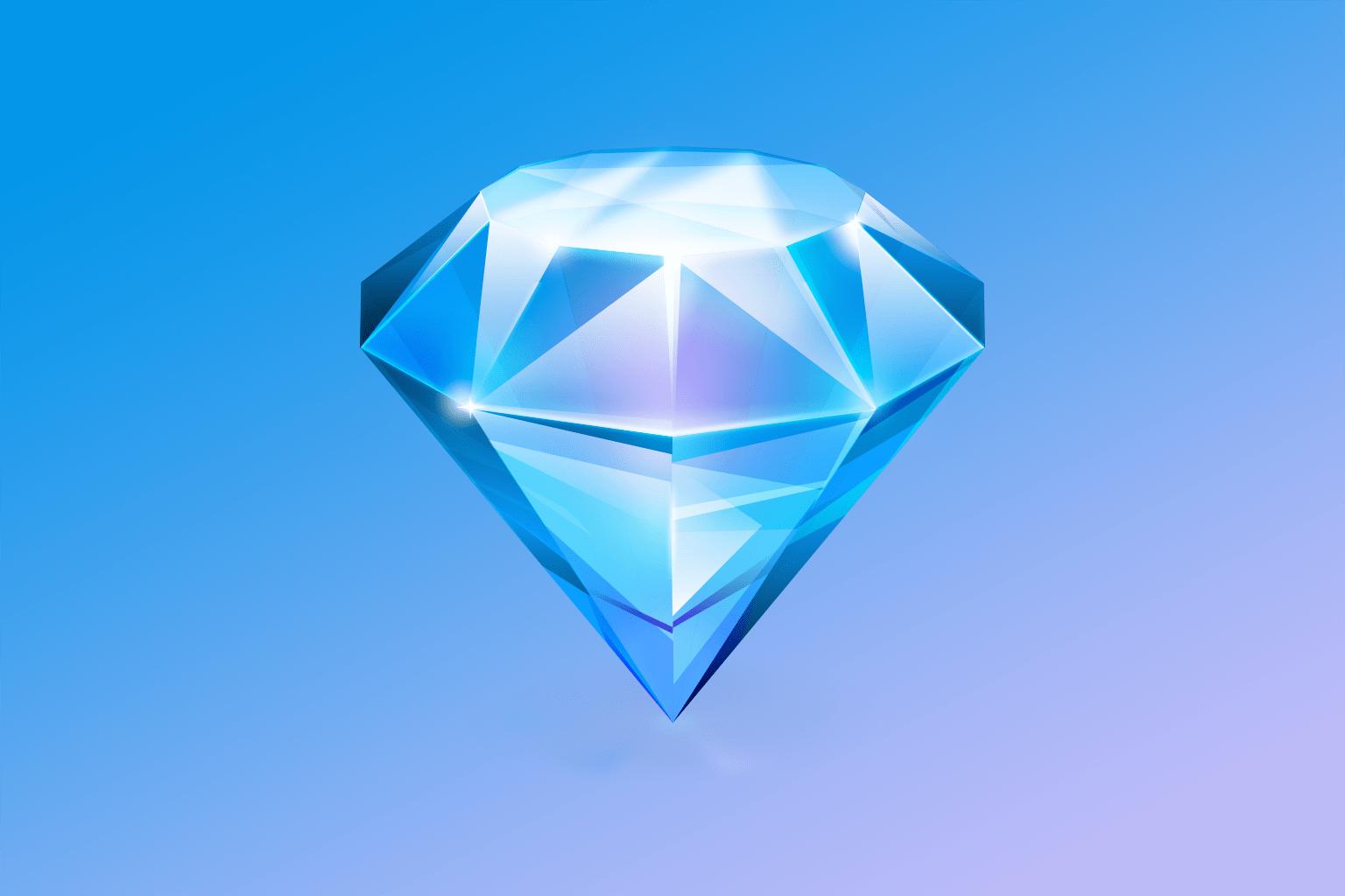 A blue version of the original Sketch 1.0 icon