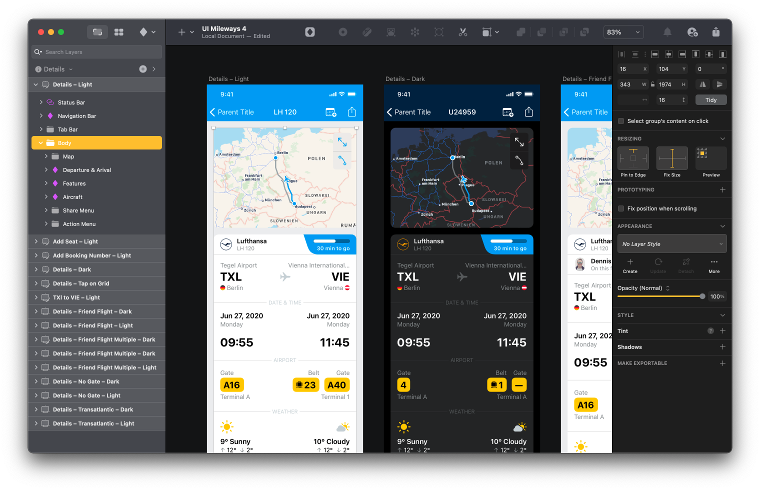 interface designs in Sketch for a flight tracker with a social element
