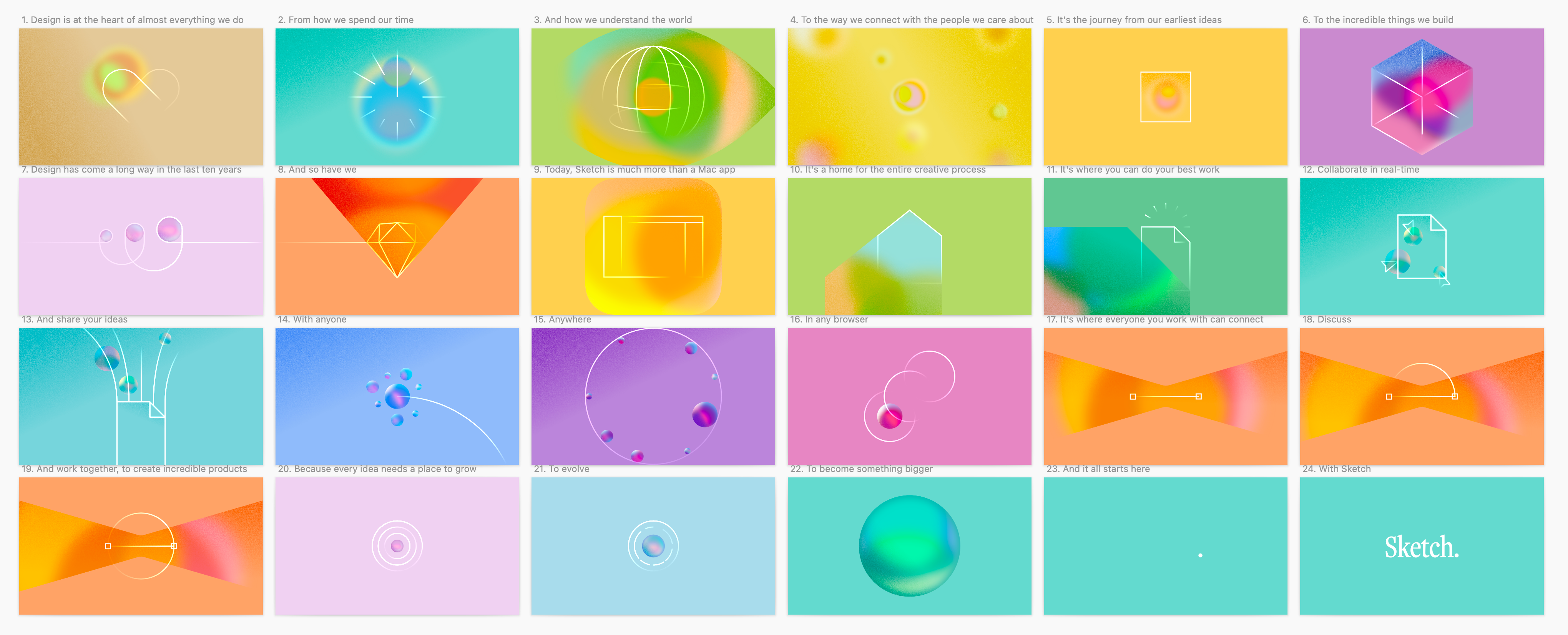 A storyboard of the final idea made in Sketch. Each frame uses a different, bright colored background.