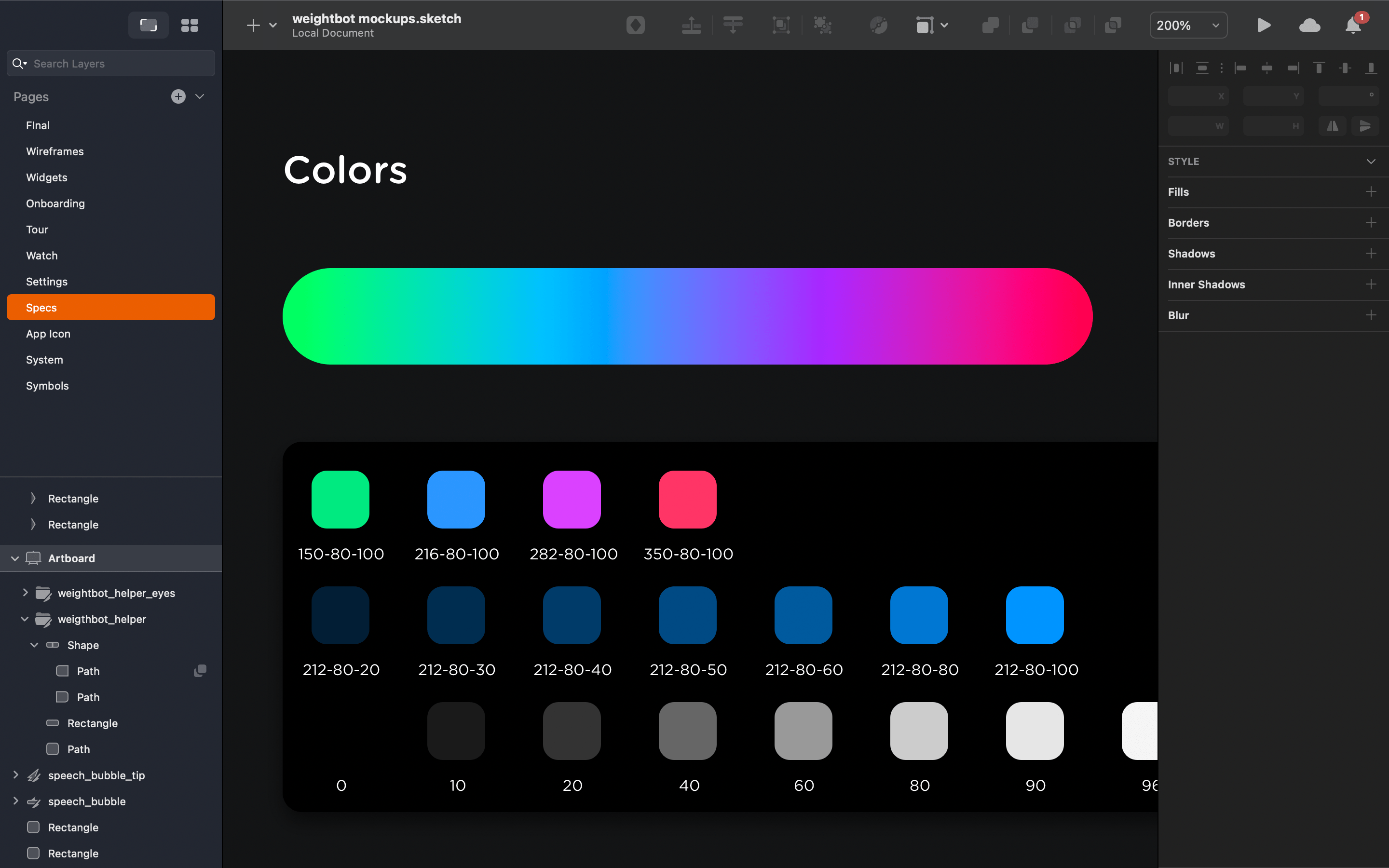 A screenshot showing how Mark organizes colors in his Sketch files.