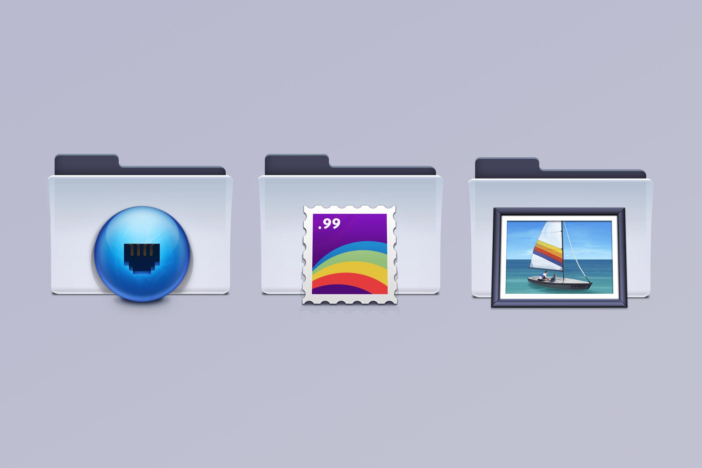 Three illustrated macOS folders designed by Emanuel