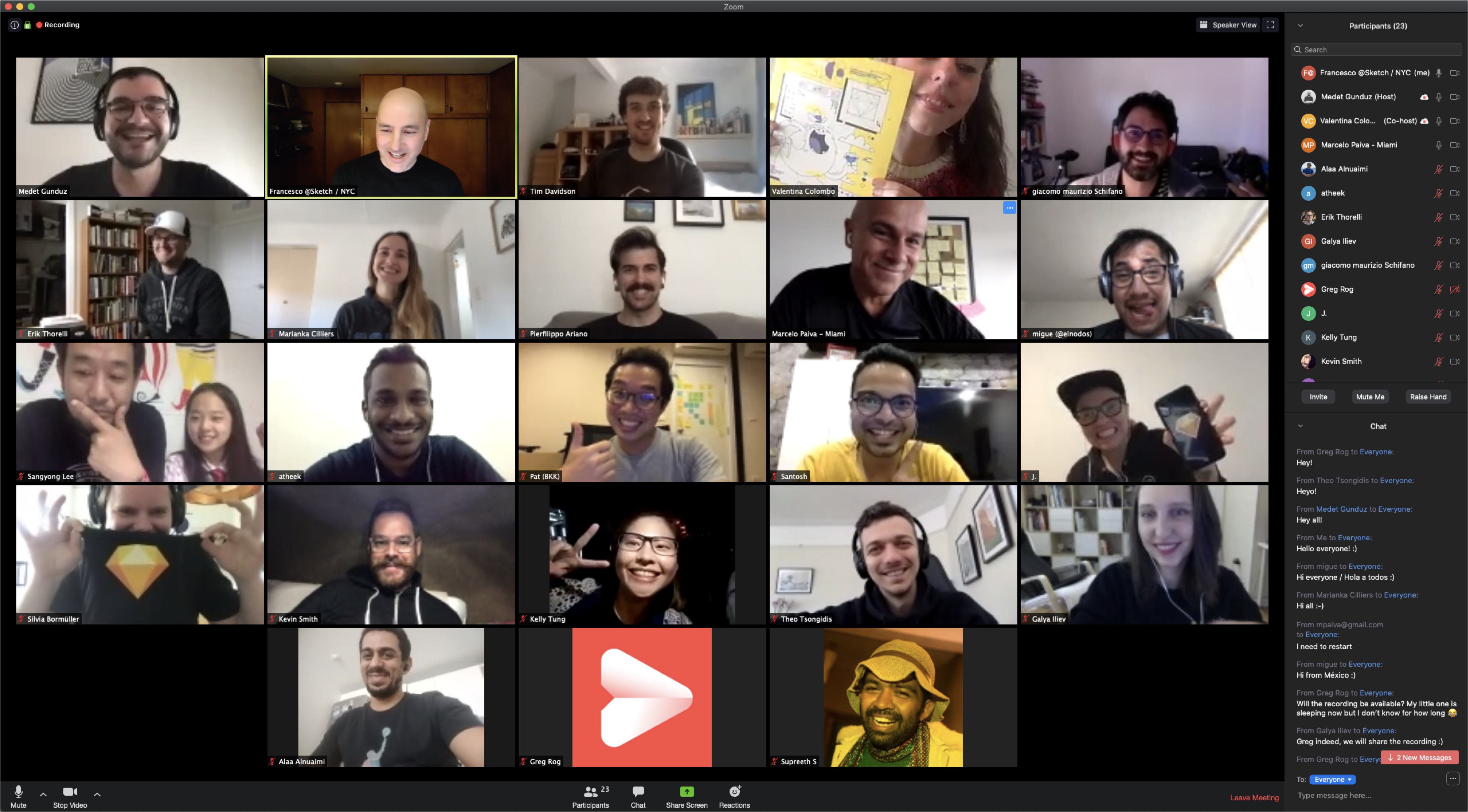 Another screenshot taken from a Zoom call showing lots of users taking part in a meetup.