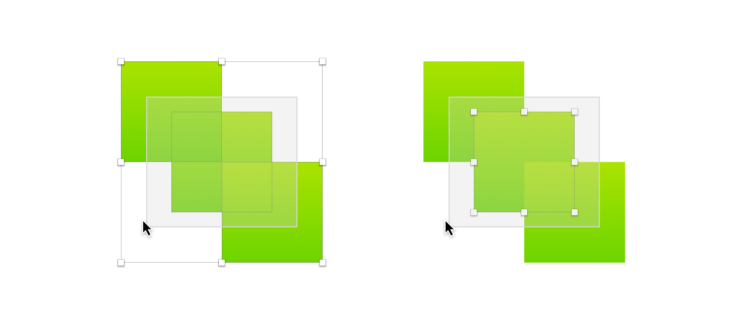 An image showing how the option modifier affects click and drag selections