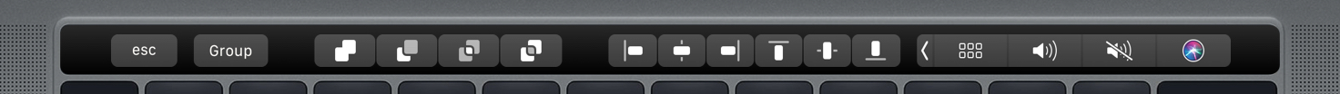 An image showing boolean operations controls on the Touch Bar