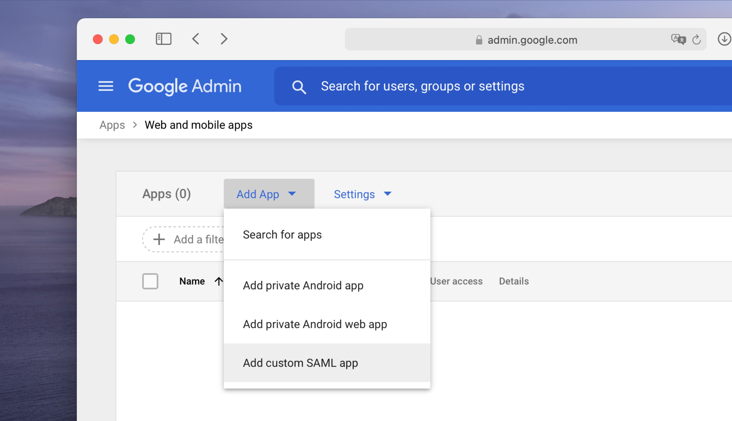 An image showing how to add a new SAML application in Google Suite