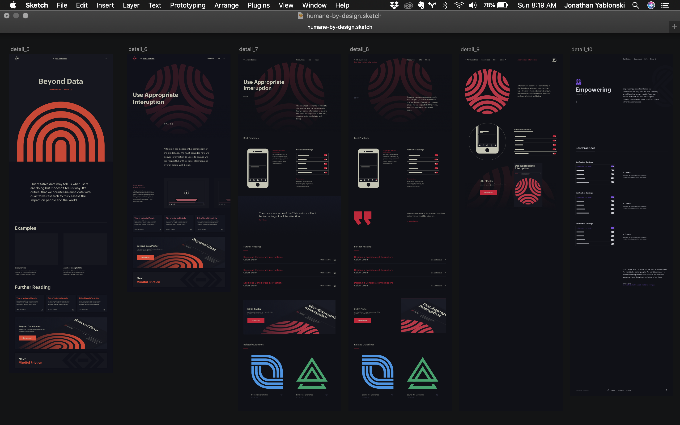 A screenshot of the Sketch Mac app with different webpage designs