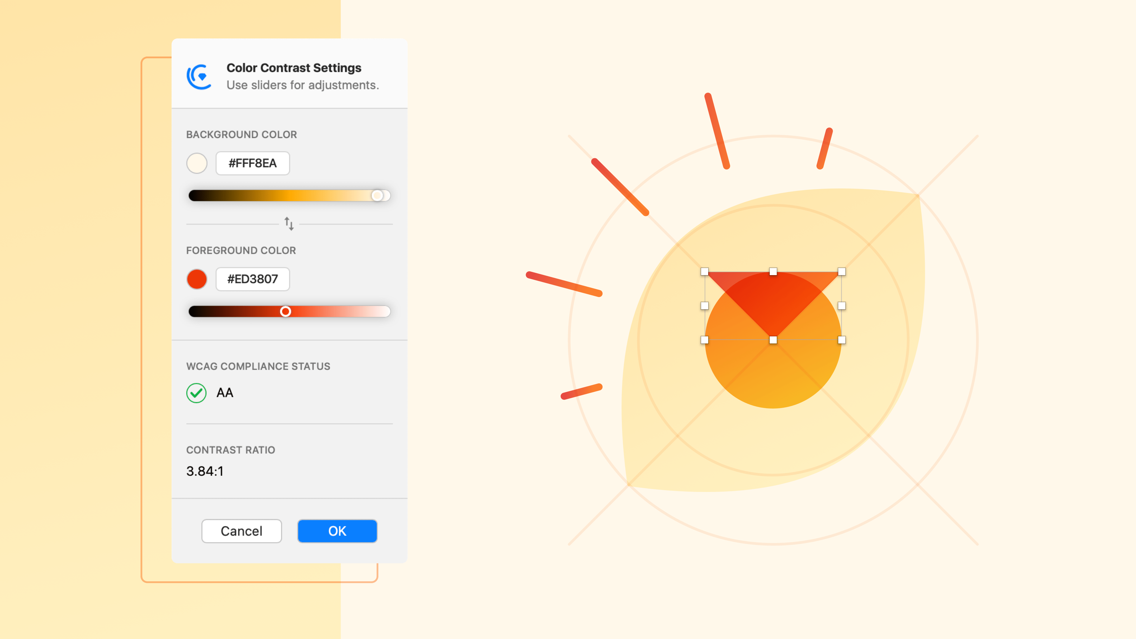 Using Cluse to test whether an image is AA accessible in Sketch.