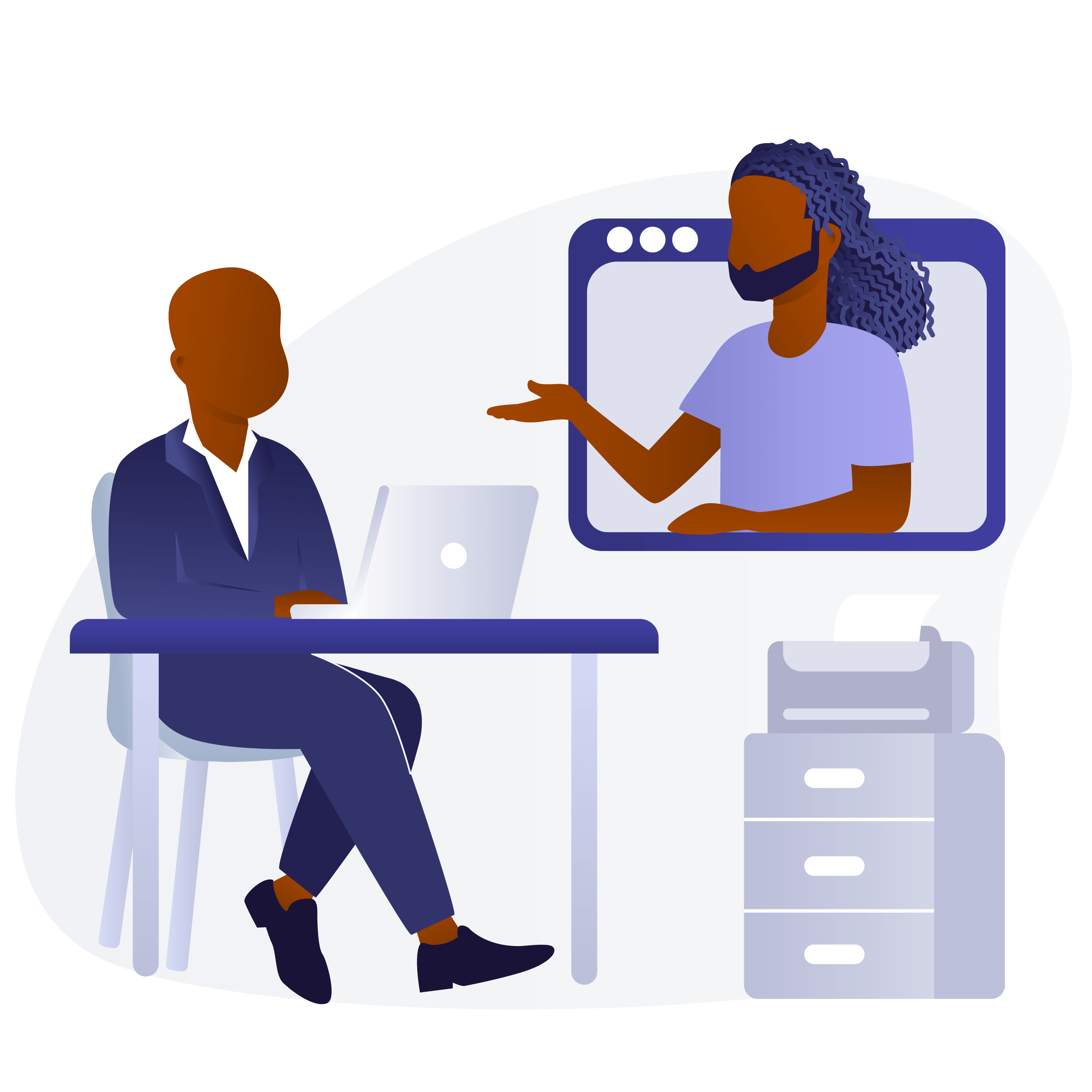 An illustrated image of two Black men video chatting in an office environment