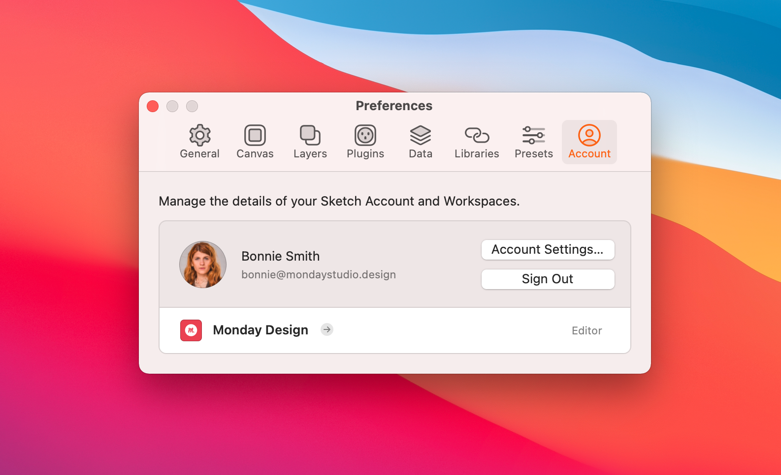 An image showing the Sketch Preferences window, with the Account panel open. This area shows the different Workspaces you belong to.