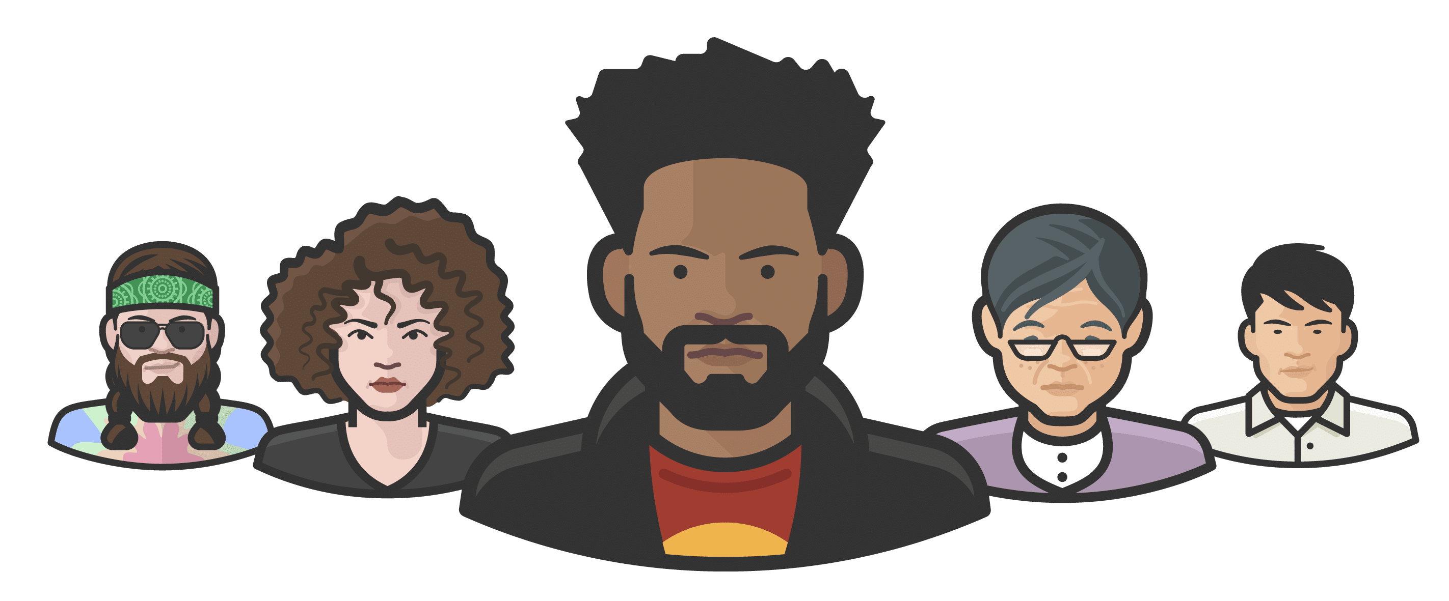 An image of five different illustrated avatars showing a range of ethnicities, ages and genders