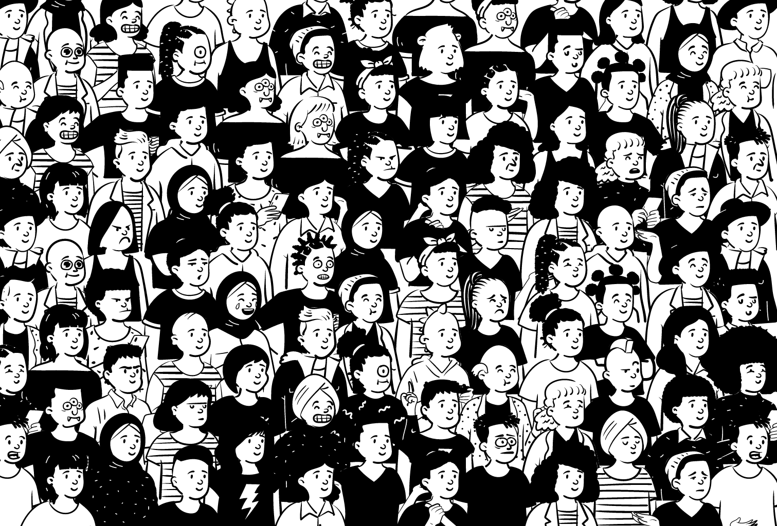 An image showing a large collection of monochrome avatars, each with a different hairstyle, facial expression and hair style